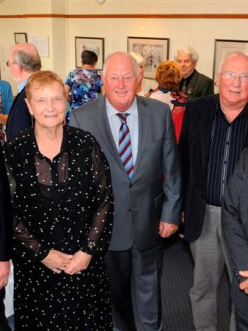 Dunedin Mayor Dave Cull (second from right) takes time to thank Dunedin residents and New Year...