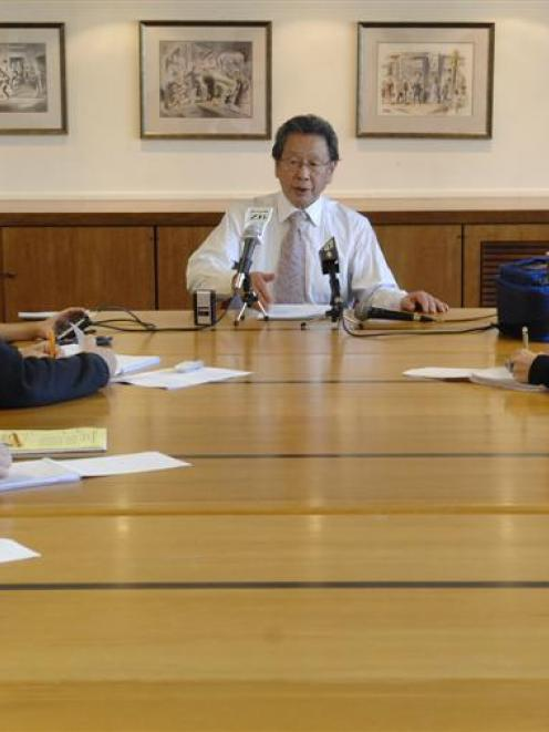 Dunedin Mayor Peter Chin announces the Government funding at a press conference yesterday. Photo...