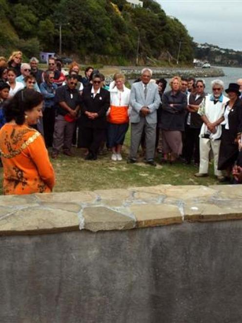 Dunedin Mayor Sukhi Turner and Ted Tamati, of Taranaki, unveil a plaque at Vauxhall, in February...