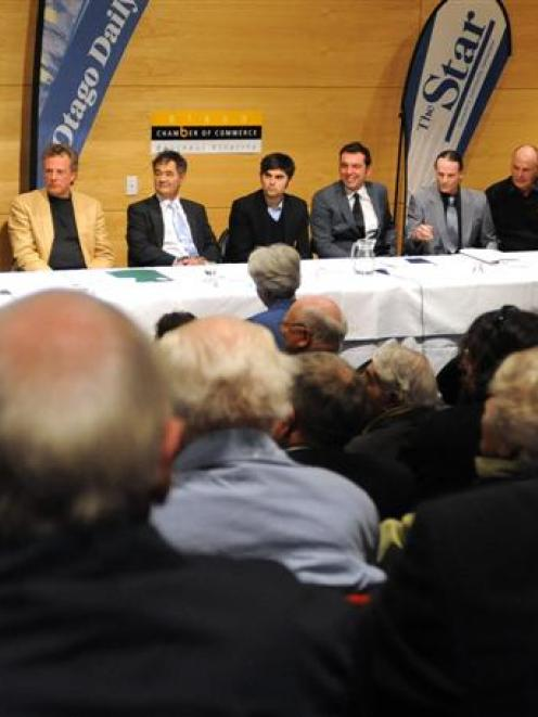 Dunedin mayoral candidates (from left) Mayor Peter Chin, Lee Vandervis, Cr Dave Cull, Aaron...