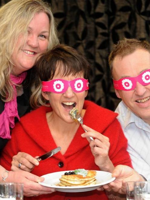 Dunedin motivational speaker and cook Julie Woods (left), who is blind, discusses a planned ...