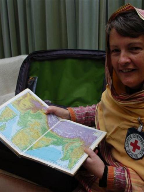 Dunedin nurse Barbara Turnbull wearing the tunic and headscarf foreign women must wear in the...
