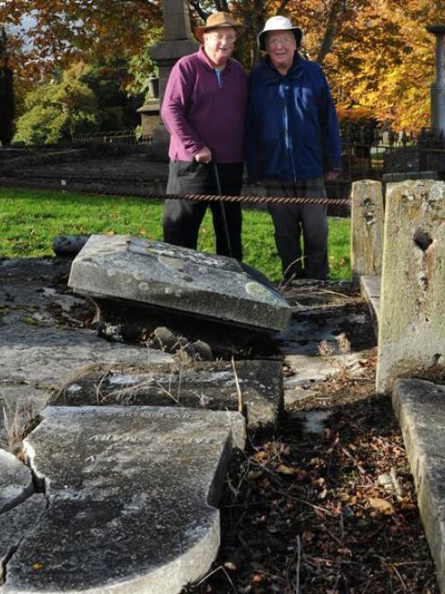 Dunedin residents Emeritus Prof Martin Ferguson (left) and Stewart Harvey reflect on the ''sad''...