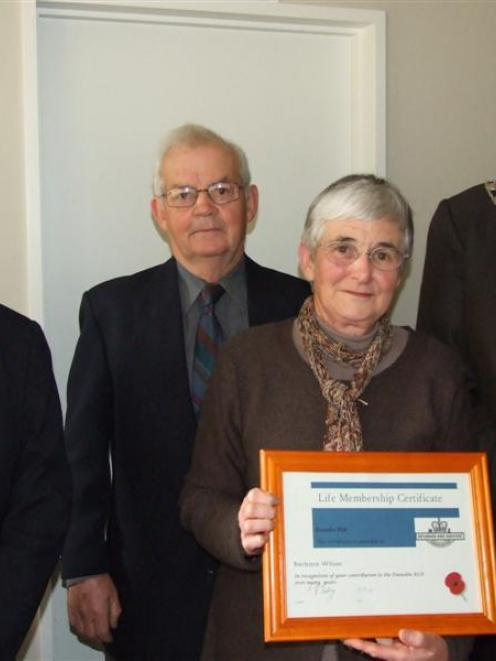 Dunedin RSA president Alan Goding (left), Justin and Barbara Wilson and Clutha Mayor Juno Hayes ...