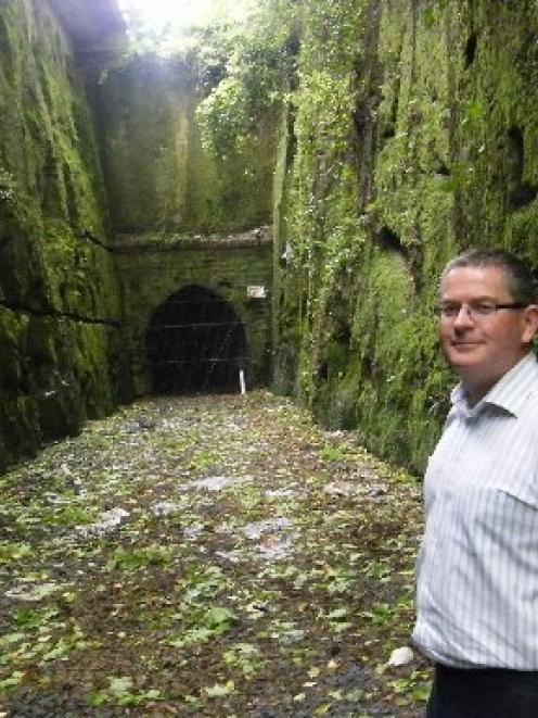 Dunedin Tunnels Trail Trust member Gerard Hyland hopes gas testing inside the Caversham Tunnel,...