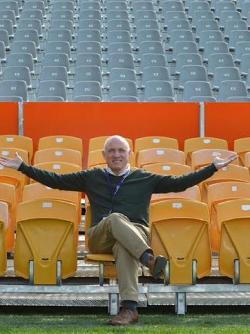 Dunedin Venues Management Ltd chief executive David Davies tests temporary seats in front of the...