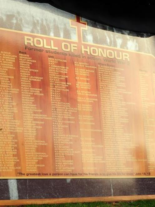 Dunedin writer Pauline Diack with a roll of honour of former Kavanagh College pupils killed in...