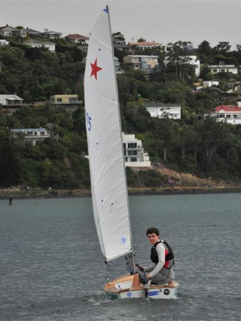 Dunedin yachtsman Fletcher Meyer on  Otago Harbour. Photo by Jane Dawber.