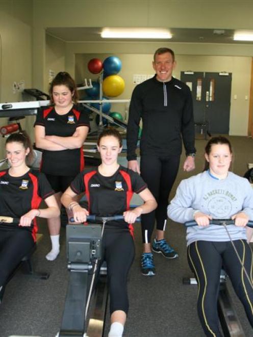 Dunstan Arm Rowing Club members (from left) Jasmine McIntosh (15), Jenna Smith (15), Erin Calder ...