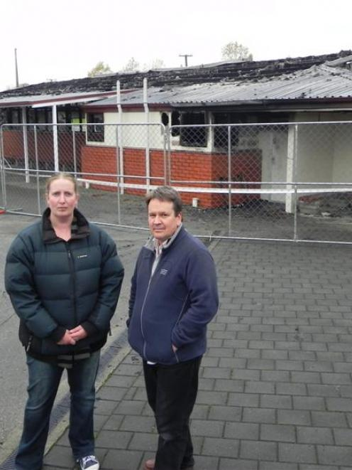 East Gore School deputy principal Wendy Kitto and teacher Richard Sutherland stand in front of...