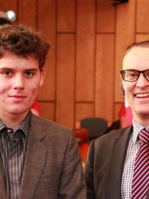 East Otago High School year 13 pupil Keiran Ireland of Warrington with Dunedin North MP Dr David...