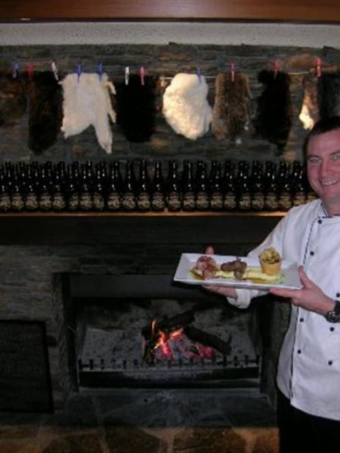 Edgewater executive chef Damon McGinniss, of Wanaka, with his rabbit and hare dish made of Tarras...