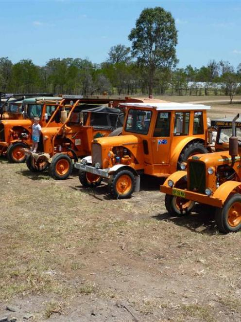 Eight 9G Chamberlain tractors ready for the New Zealand adventure. Photo supplied.