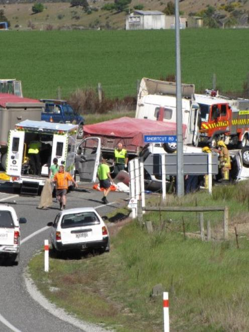 Emergency services at the scene of a fatal crash near Wanaka last month. Photo Mark Price