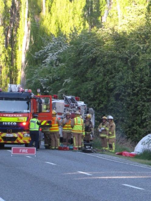 Emergency services attend a fatal crash on Malaghans Rd between Queenstown and Arrowtown this...