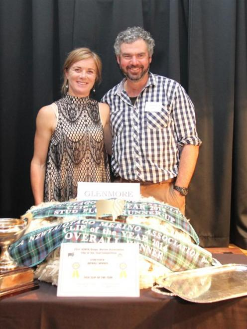 Emily and Will Murray, of  Glenmore Station, with their award-winning fleece at the Otago Merino...