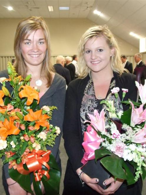 Emily Wallace (left), of Gore, and Amy Wright, of Balclutha, who won Clutha District Health 2011...