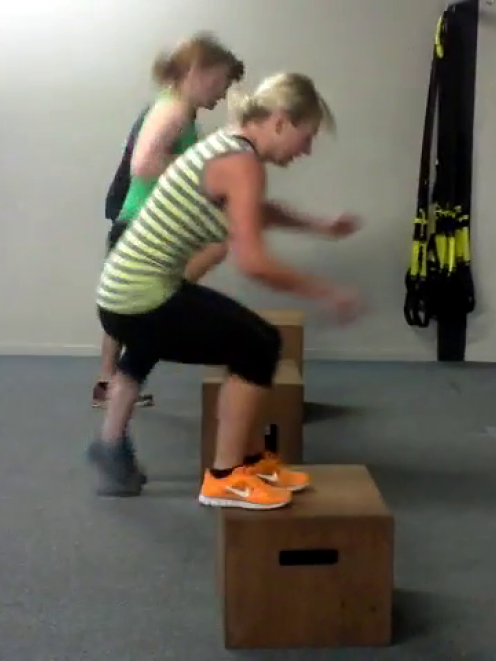 Emma and a few of the girls doing box jumps