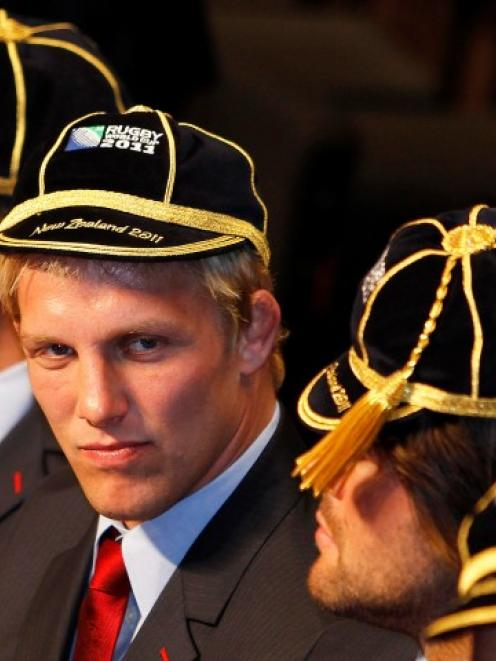 England captain Lewis Moody at the official welcome ceremony for the Rugby World Cup at Dunedin...