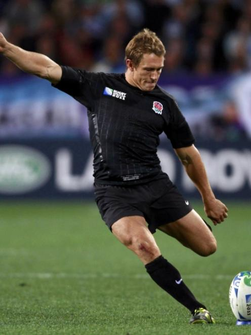 England's Jonny Wilkinson attempts a penalty kick during their Rugby World Cup Pool B match...