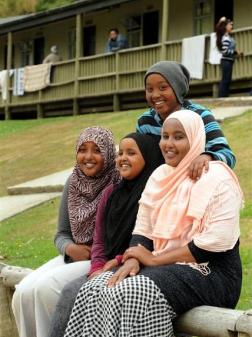 Enjoying a break from Christchurch and its earthquakes are (from left) Hafsa (13), Aaliya (10),...