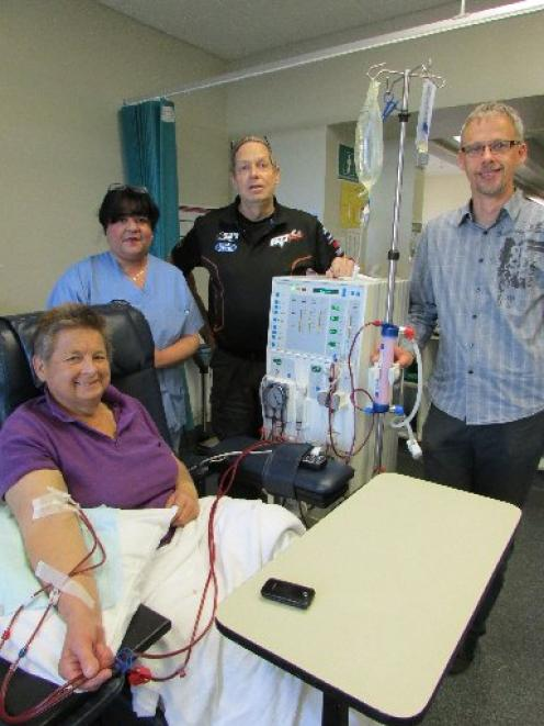 Enjoying a catch-up at the Dunedin Hospital Dialysis Unit this week are (from left) patient Kay...