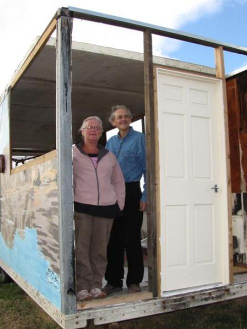 enny Simmons and Neil Cameron stand in the shell of the Alexandra pie cart that they hope to have...