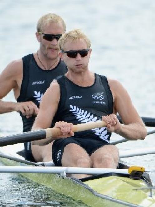 Eric Murray and Hamish Bond of New Zealand compete in the Men's pair.  (Photo by Harry How/Getty...
