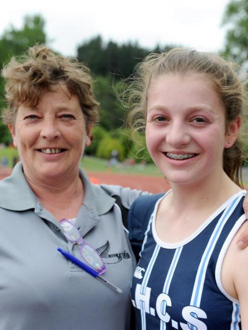 Erin O'Brien (St Hilda's Collegiate School) and coach Julie Myers show their satisfaction after...