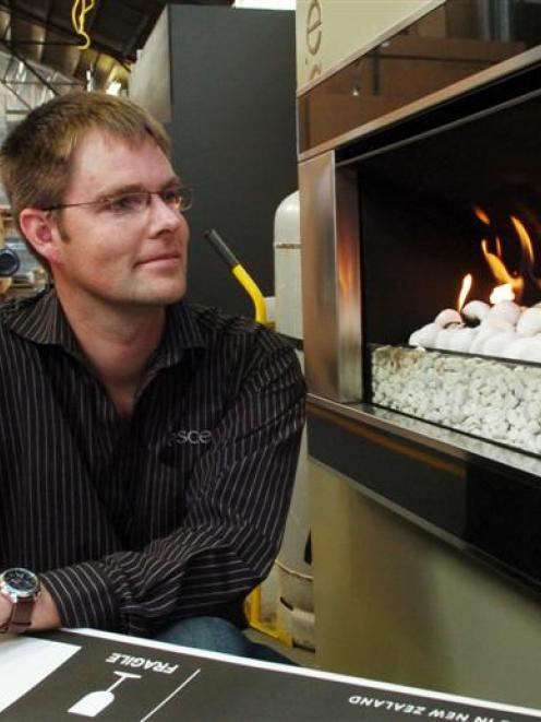 Escea managing director Nigel Bamford with an outdoor gas fire which will be displayed in the New...
