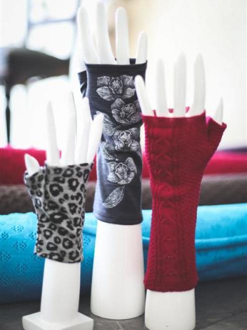 Examples from  her  2015 merino fingerless glove range.