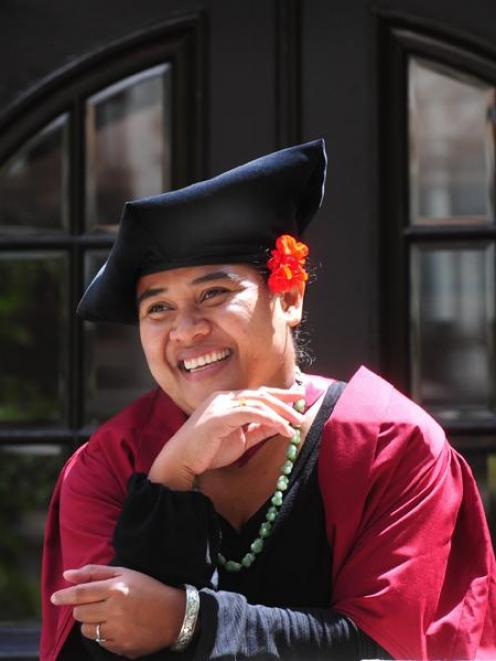 Fanaafi Aiono-Le Tagaloa prepares to graduate with a doctorate from the University of Otago....