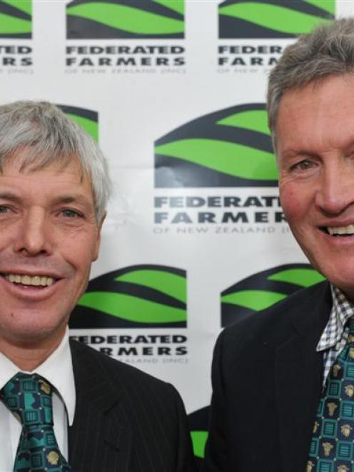 Federated Farmers Otago's new president Phill Hunt (left), from Maungawera, with outgoing...