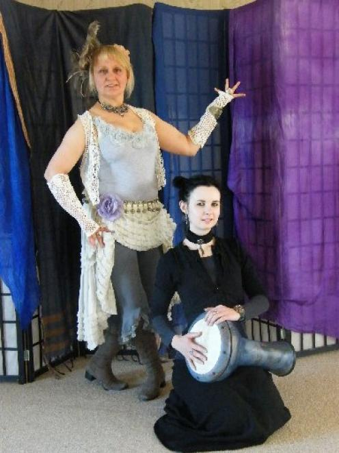 Festival of belly dance: Dunedin belly dance practitioners Anna Walsh (kneeling) and Bronwyn...