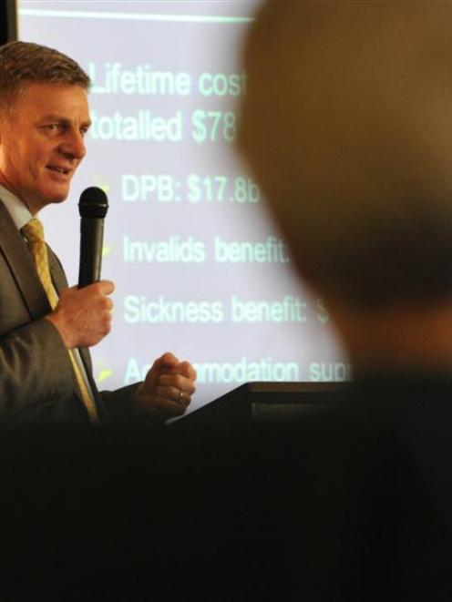Finance Minister Bill English outlines the Government's budget for the next financial year,...