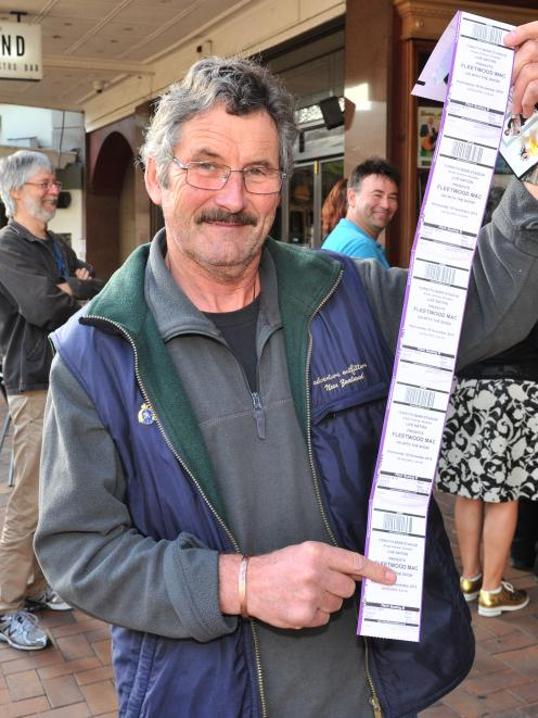 Fleetwood Mac fan Len Tallentire queued for hours to secure concert tickets in Dunedin yesterday....
