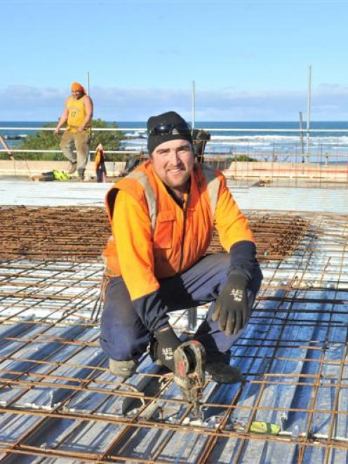 Fletcher Reinforcing contractor Cole Shanks at work on the Brighton Surf Life Saving Club...