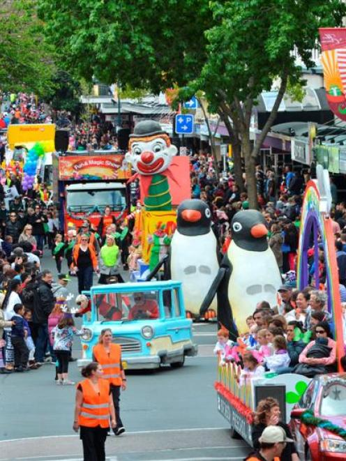 Floats travel up George St in the Dunedin Santa Parade yesterday. Photo by Gerard O'Brien.