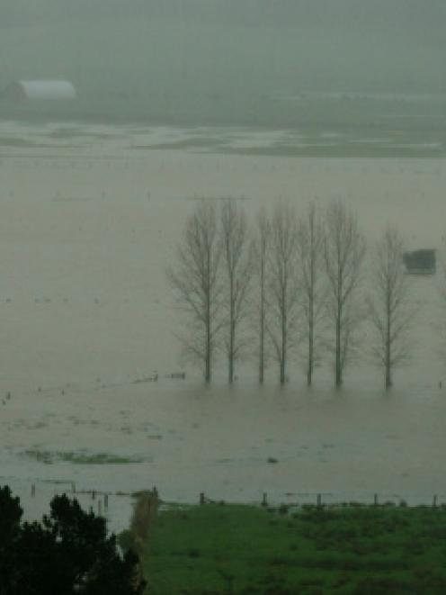 Flooded farmland in the far north after a storm battered the top of the North Island. Photo: NZ...