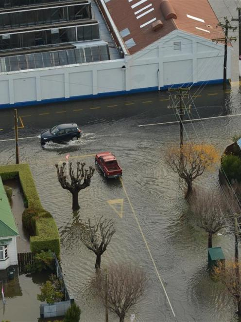Flooded streets in South Dunedin in June last year. PHOTO: STEPHEN JAQUIERY