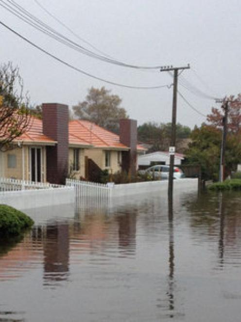 Flooding in Flockton St, Christchurch. Photo: supplied