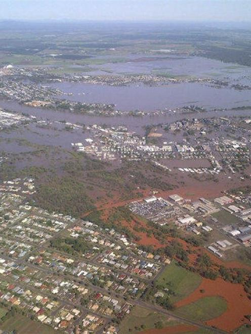 Floodwaters from the Burnett River inundate parts of Bundaberg, 300kms north of Brisbane. ...