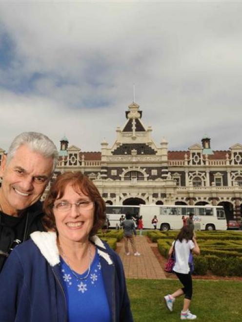 Florida residents Jim Jackson and his wife, Lynn Jackson, enjoy their visit to Dunedin yesterday....
