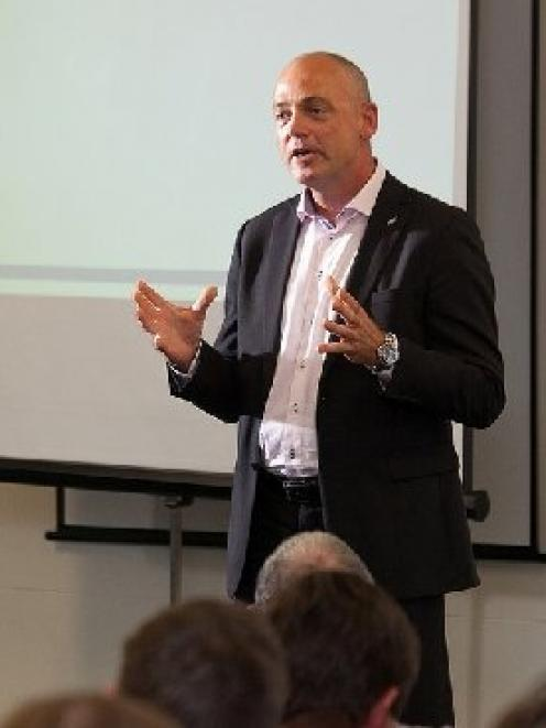 Fonterra chief executive Theo Spierings addresses a group of farmer shareholders. Photo by Fonterra.