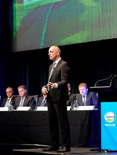 Fonterra chief executive Theo Spierings addresses the co-operative's annual meeting in a...