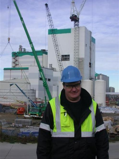 Fonterra D4 project manager Dean Shilvock oversees construction of the fourth milk drier at the...