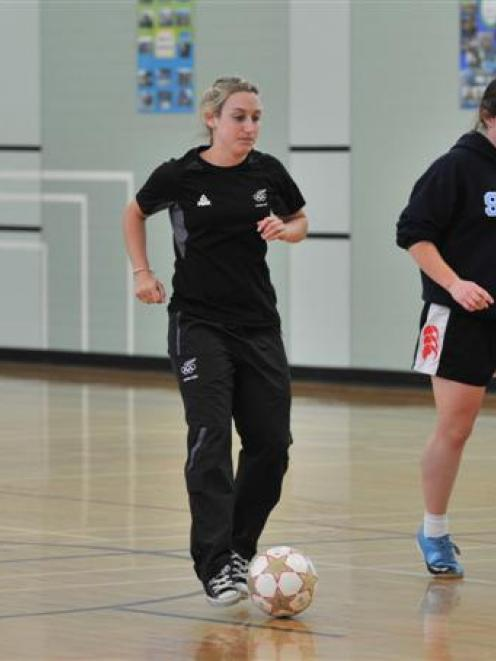 Football Fern Annalie Longo (second left) coaches St Hilda's pupils (from left) Holly Smaill,...