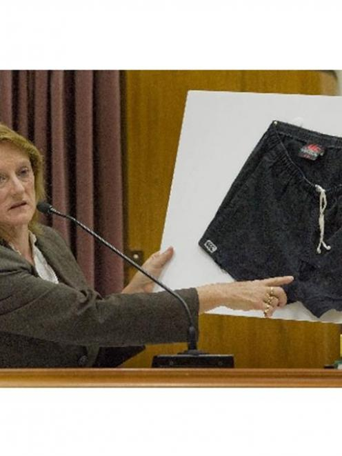 Forensic biologist Sally-Ann Harbison points to a blood-stained area on the shorts David Bain was...