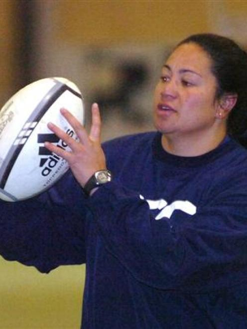 Former Black Fern prop Kamila Wihongi trains with the Otago Spirit at the Edgar Centre this week....