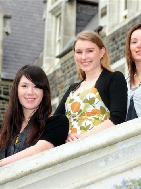 Former Columba College pupils (from left) Yani Hung, Emma Hutton and Dr Julia Matheson will...
